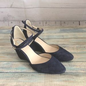 Cole Haan The Lacey Wedge Pumps Navy Suede Sz 6.5